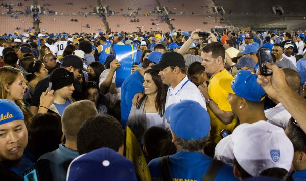 Coach Mora Hanging Out With the Fans